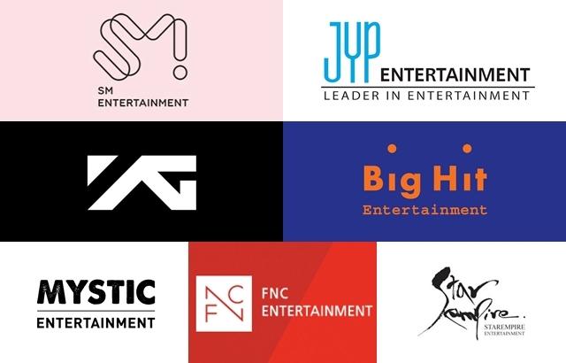 S.M. Entertainment、JYP Entretainment、YG Entertainment、Big Hit Entertainment、MYSTIC Entertainment、FNC Entertainment、Star Empire