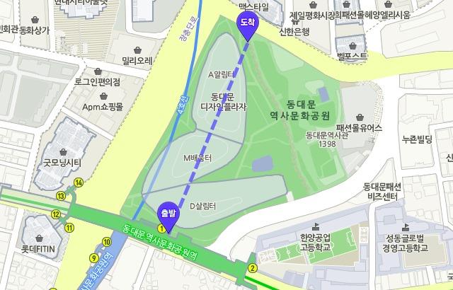 東大門設計廣場 DDP 地圖