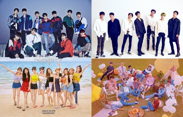 Wanna One、iKON、TWICE、SEVENTEEN