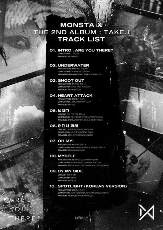 MONSTA X 第二張正規專輯 TAKE.1《ARE YOU THERE?》曲目表