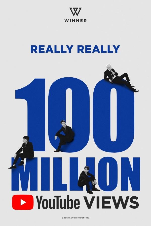 WINNER《REALLY REALLY》MV 瀏覽人次破一億海報