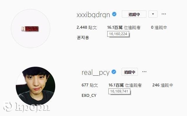 Chan Yeol、G-Dragon@Instagram 追蹤者