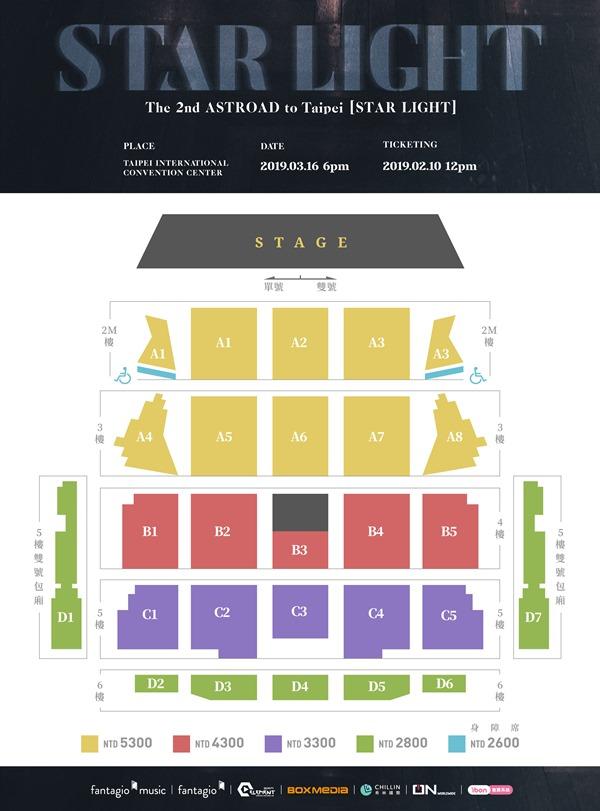 ASTRO 台灣演唱會票區圖