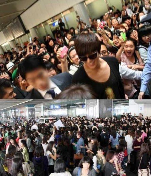 李敏镐在中国造成机场麻痺