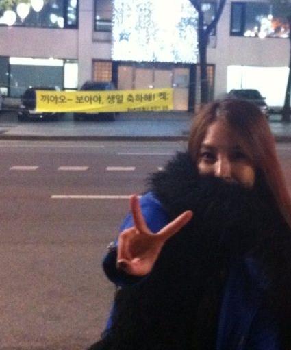 BoA 在韩国街上的生日横幅