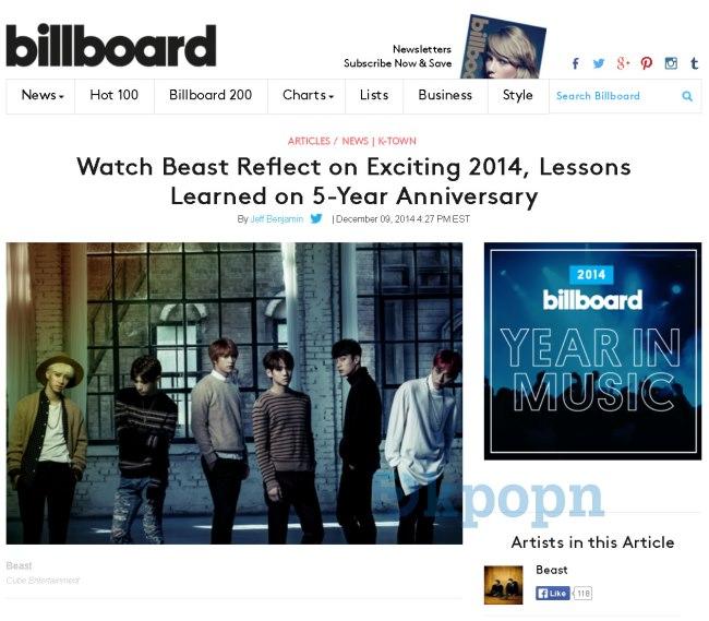 Billboard 盛讚 BEAST