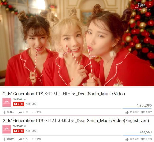 少女時代-TaeTiSeo《Dear Santa》MV 瀏覽人次