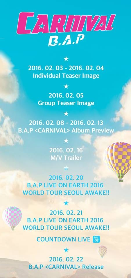 B.A.P 第五張迷你專輯《Carnival》回歸時程