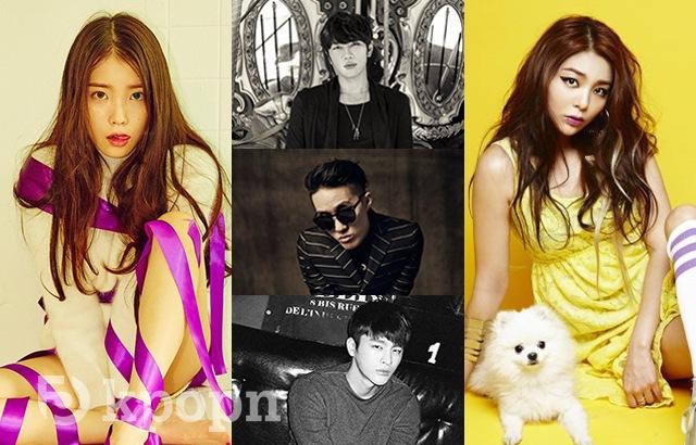 (縮圖)IU、K.Will、Zion T、徐仁國、Ailee(來源:各藝人經紀公司)