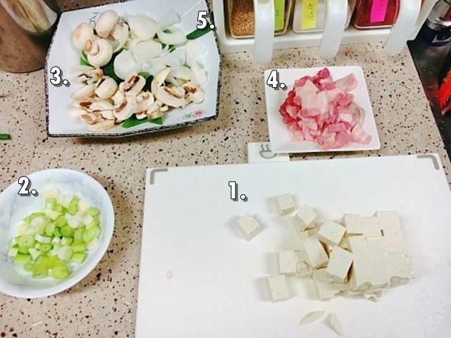 鄭俊英簡易版麻婆豆腐-材料 (來源:鄭俊英@部落格)